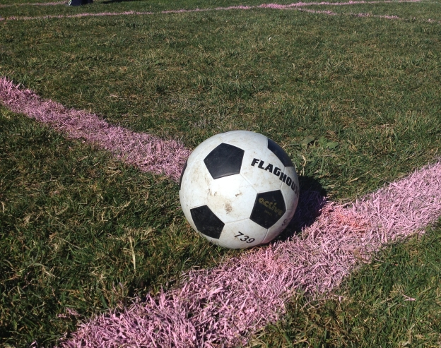 soccer ball with field lines
