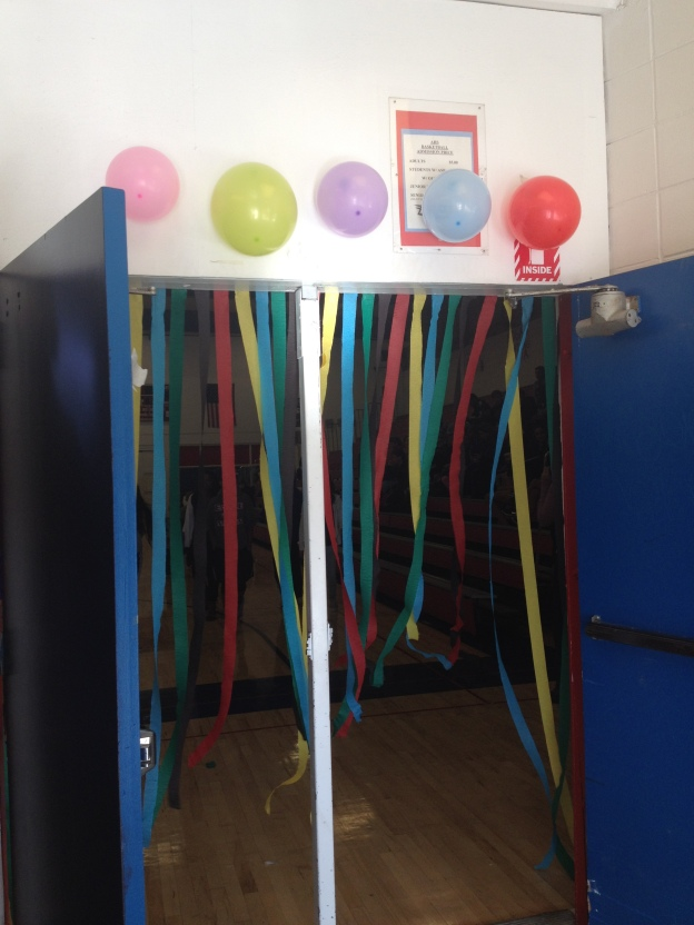 streamers on gym door